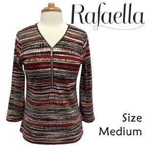Rafaella Size M Striped Zippered 3/4 Sleeve Top